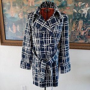 Merona women's short trench coat blue/white sz M